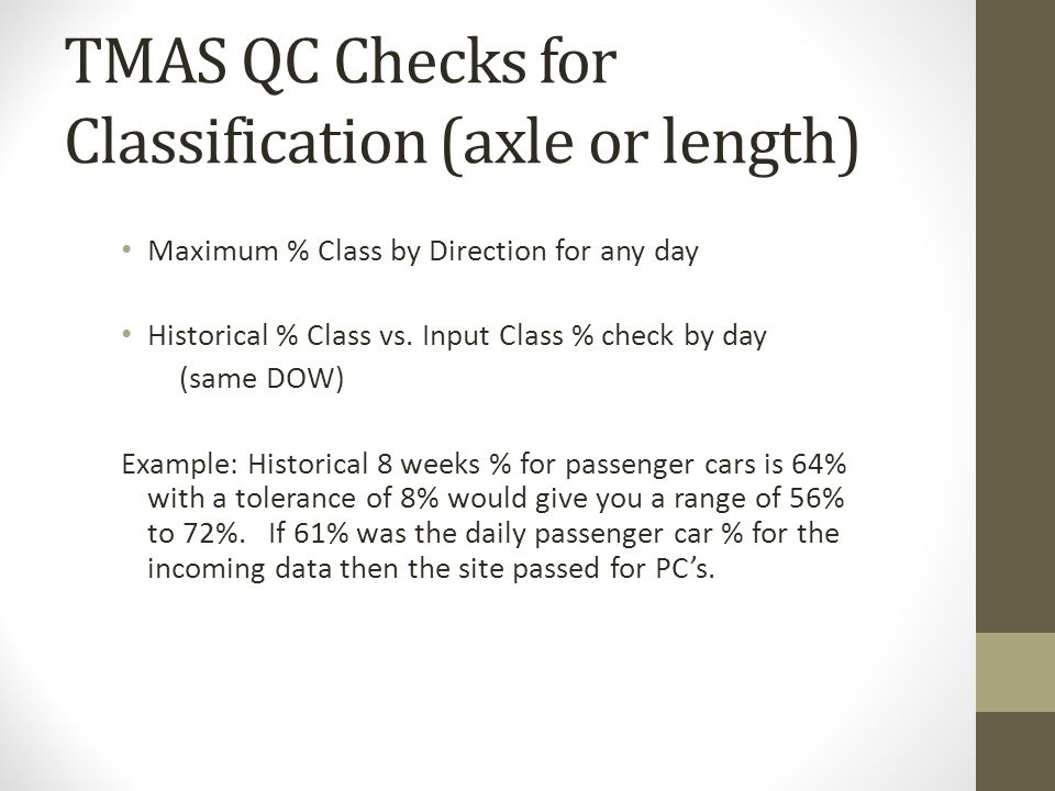 TMAS QC Checks for Classification (axle or length) Maximum % Class by Direction for any day Historical % Class vs. Input Class % check by day (same DO