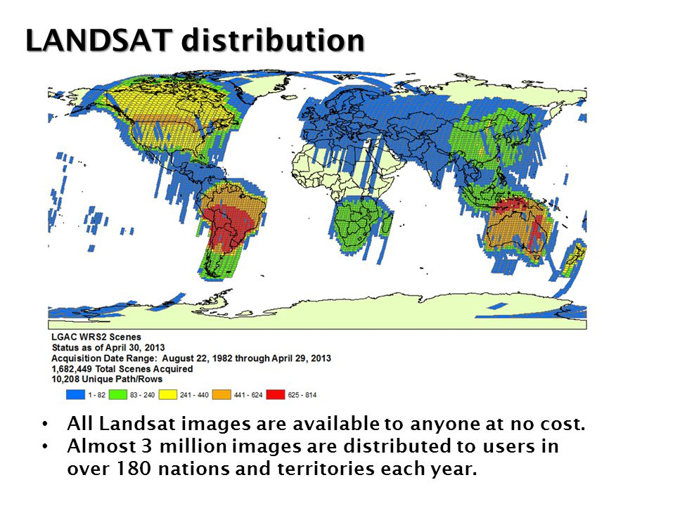 All Landsat images are available to anyone at no cost. Almost 3 million images are distributed to users in over 180 nations and territories each year.