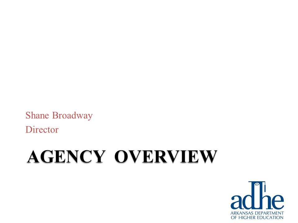 AGENCY OVERVIEW Shane Broadway Director