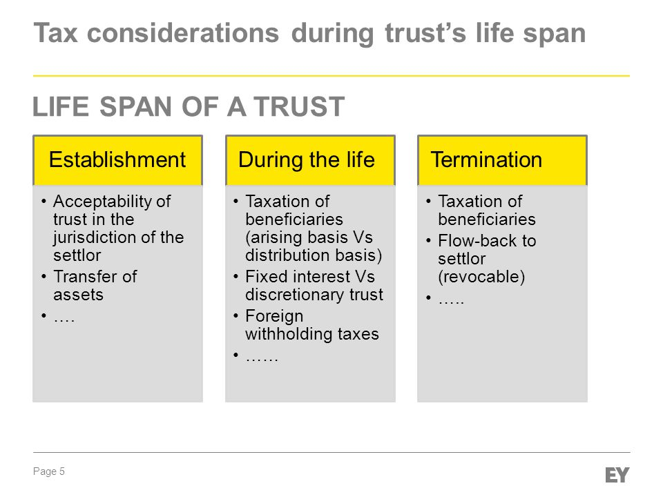 Page 5 Tax considerations during trust's life span Establishment Acceptability of trust in the jurisdiction of the settlor Transfer of assets ….