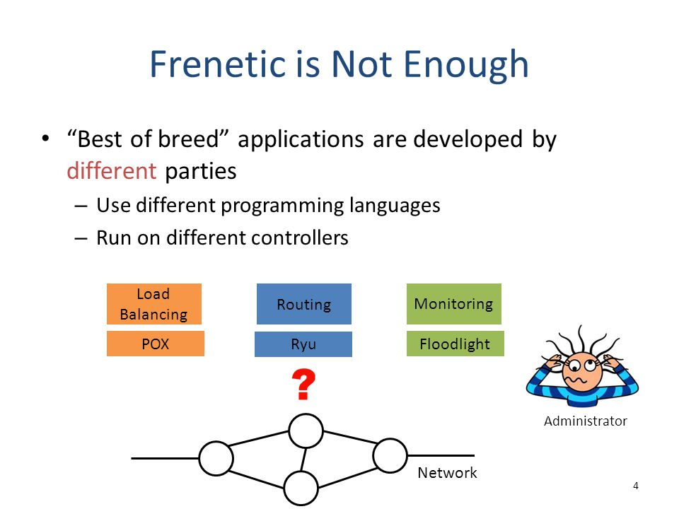 "Frenetic is Not Enough ""Best of breed"" applications are developed by different parties – Use different programming languages – Run on different contro"
