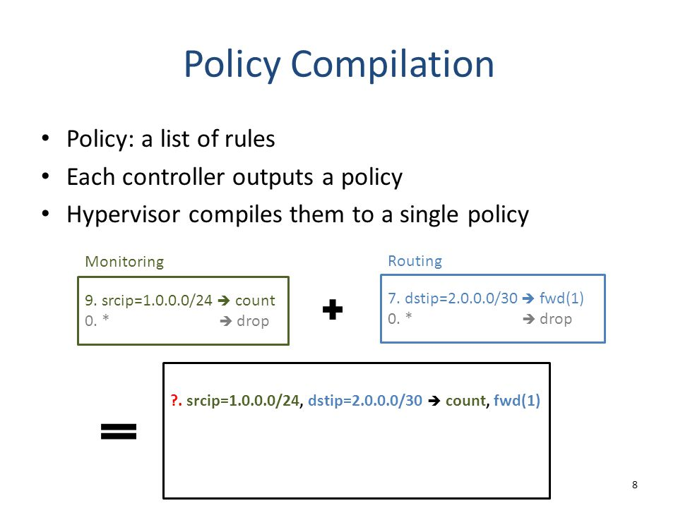 Policy Compilation Policy: a list of rules Each controller outputs a policy Hypervisor compiles them to a single policy 8 9. srcip=1.0.0.0/24  count