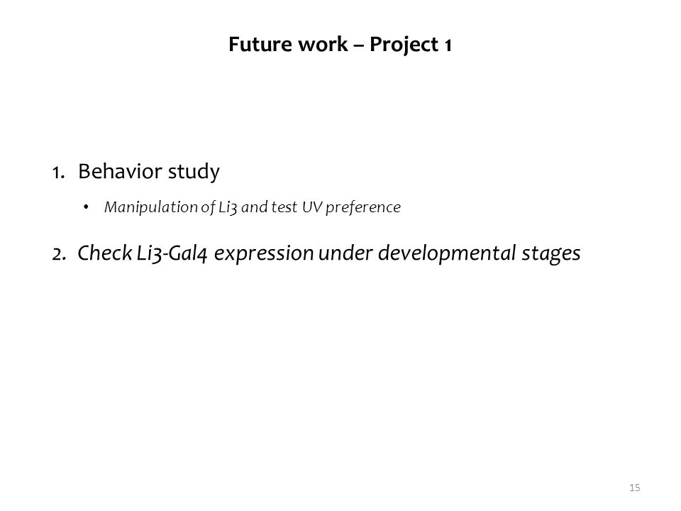 15 Future work – Project 1 1.Behavior study 2.Check Li3-Gal4 expression under developmental stages Manipulation of Li3 and test UV preference