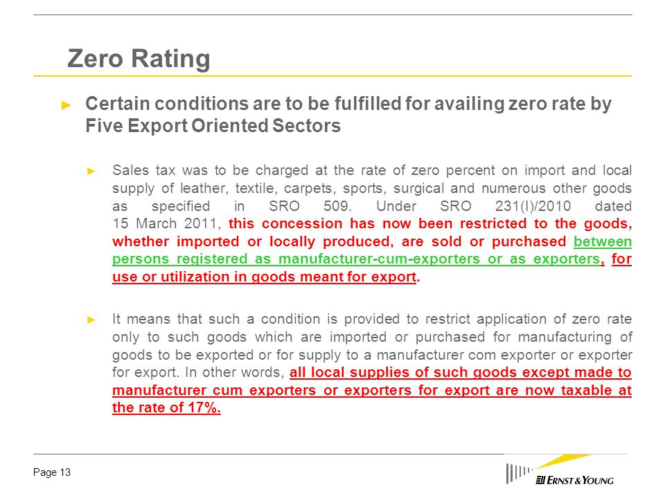 Page 13 ► Certain conditions are to be fulfilled for availing zero rate by Five Export Oriented Sectors ► Sales tax was to be charged at the rate of z