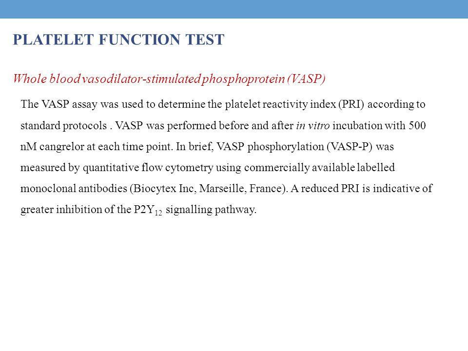 PLATELET FUNCTION TEST Whole blood vasodilator-stimulated phosphoprotein (VASP) The VASP assay was used to determine the platelet reactivity index (PRI) according to standard protocols.