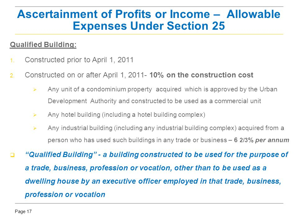Page 17 Qualified Building: 1. Constructed prior to April 1, 2011 2. Constructed on or after April 1, 2011- 10% on the construction cost  Any unit of