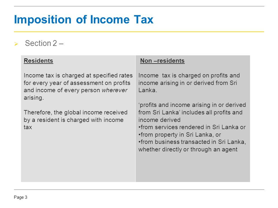 Page 3 Imposition of Income Tax  Section 2 – Residents Income tax is charged at specified rates for every year of assessment on profits and income of