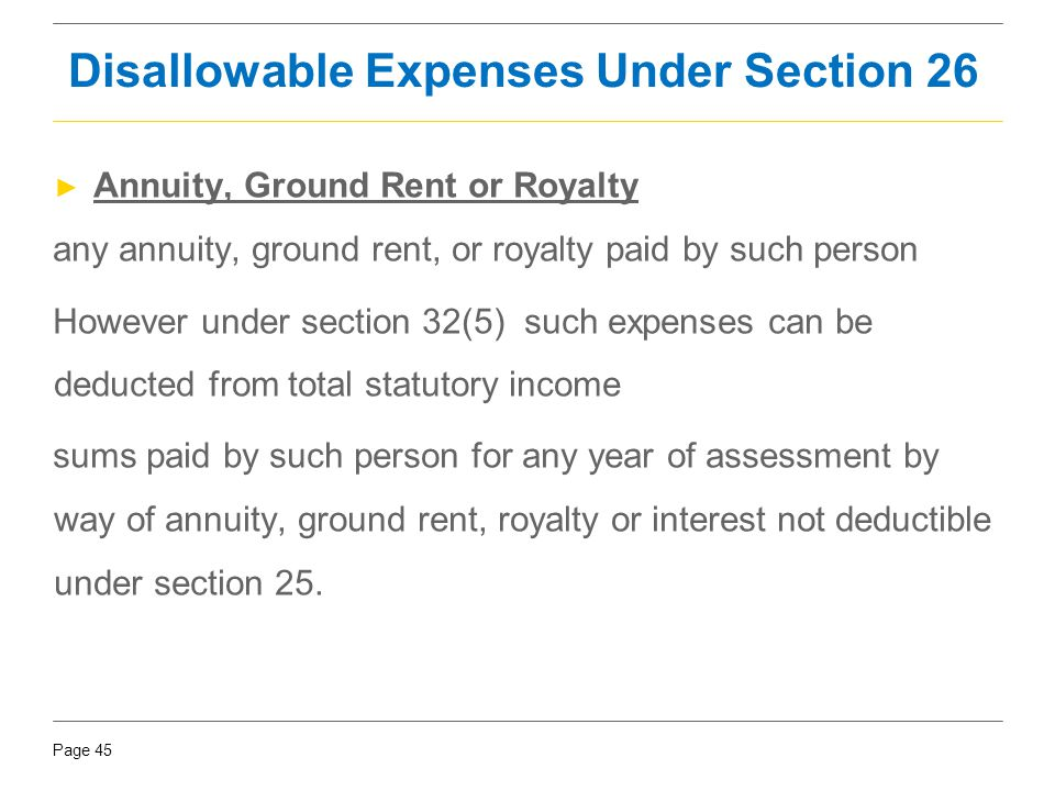 Page 45 ► Annuity, Ground Rent or Royalty any annuity, ground rent, or royalty paid by such person However under section 32(5) such expenses can be de