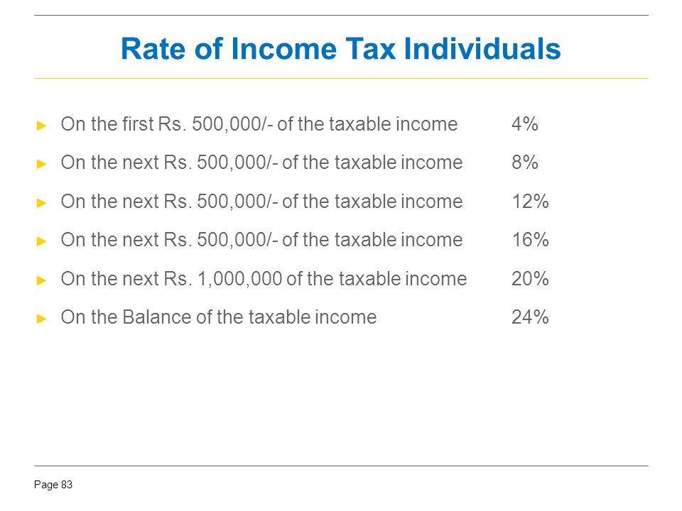 Page 83 Rate of Income Tax Individuals ► On the first Rs. 500,000/- of the taxable income4% ► On the next Rs. 500,000/- of the taxable income 8% ► On