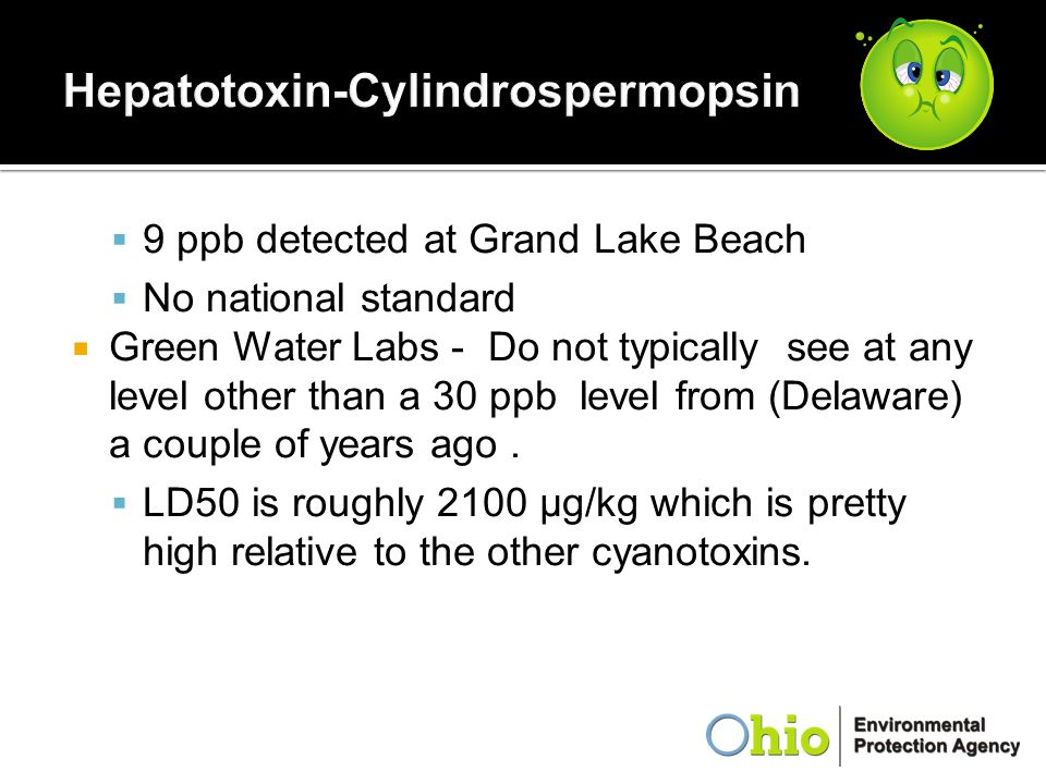  9 ppb detected at Grand Lake Beach  No national standard  Green Water Labs - Do not typically see at any level other than a 30 ppb level from (Del