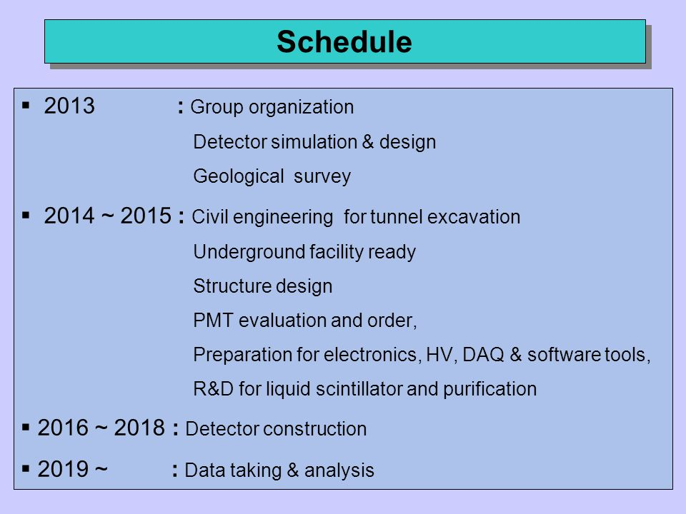Schedule  2013 : Group organization Detector simulation & design Geological survey  2014 ~ 2015 : Civil engineering for tunnel excavation Underground facility ready Structure design PMT evaluation and order, Preparation for electronics, HV, DAQ & software tools, R&D for liquid scintillator and purification  2016 ~ 2018 : Detector construction  2019 ~ : Data taking & analysis