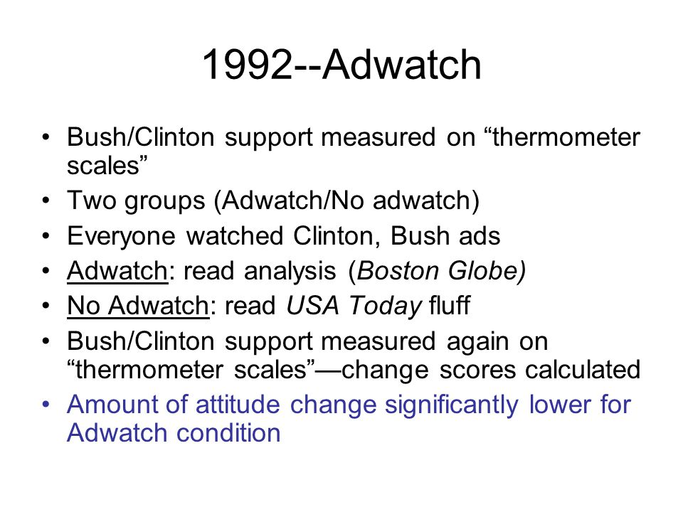 1992--Adwatch Bush/Clinton support measured on thermometer scales Two groups (Adwatch/No adwatch) Everyone watched Clinton, Bush ads Adwatch: read analysis (Boston Globe) No Adwatch: read USA Today fluff Bush/Clinton support measured again on thermometer scales —change scores calculated Amount of attitude change significantly lower for Adwatch condition