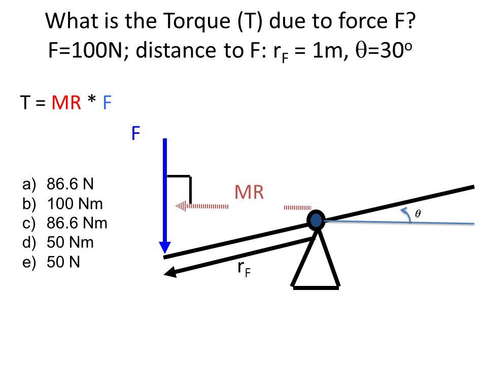T = MR * F What is the Torque (T) due to force F? F=100N; distance to F: r F = 1m,  =30 o MR F rFrF  a)86.6 N b)100 Nm c)86.6 Nm d)50 Nm e)50 N
