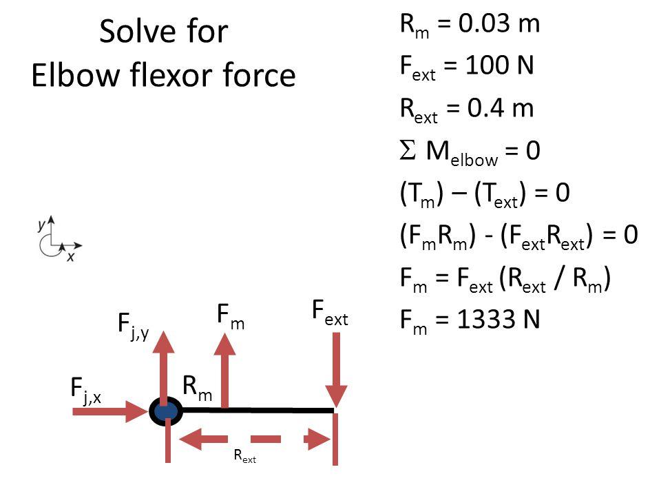 Solve for Elbow flexor force R m = 0.03 m F ext = 100 N R ext = 0.4 m  M elbow = 0 (T m ) – (T ext ) = 0 (F m R m ) - (F ext R ext ) = 0 F m = F ext