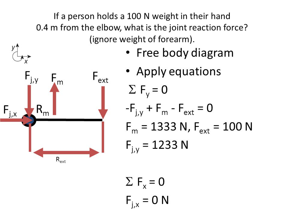 If a person holds a 100 N weight in their hand 0.4 m from the elbow, what is the joint reaction force? (ignore weight of forearm). Free body diagram A