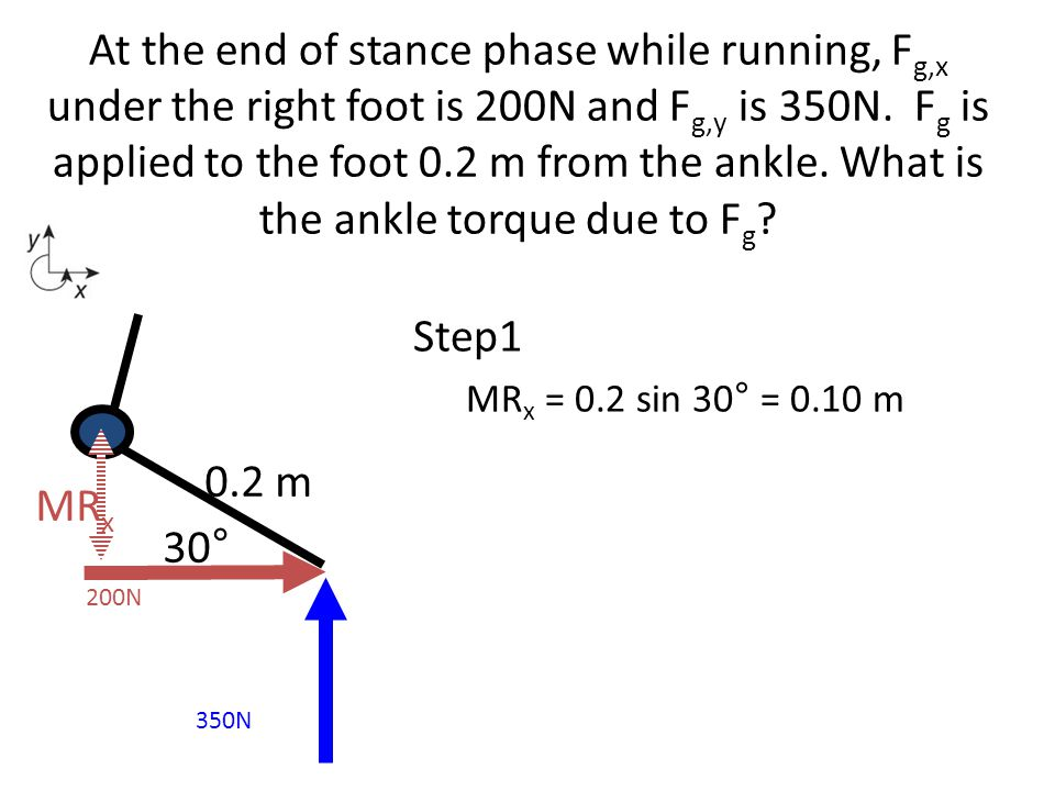 Step1 MR x = 0.2 sin 30° = 0.10 m At the end of stance phase while running, F g,x under the right foot is 200N and F g,y is 350N. F g is applied to th