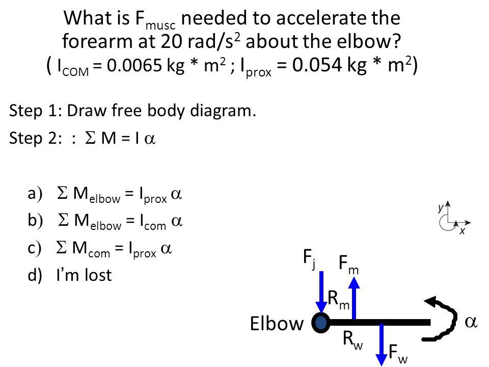 Step 1: Draw free body diagram. Step 2: :  M = I  a  M elbow = I prox   b  M elbow = I com   c  M com = I prox   d) I'm lost