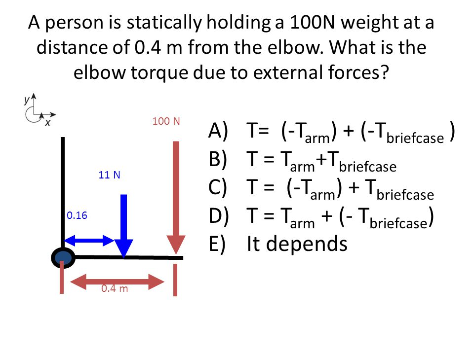 A person is statically holding a 100N weight at a distance of 0.4 m from the elbow. What is the elbow torque due to external forces? A)T= (-T arm ) +