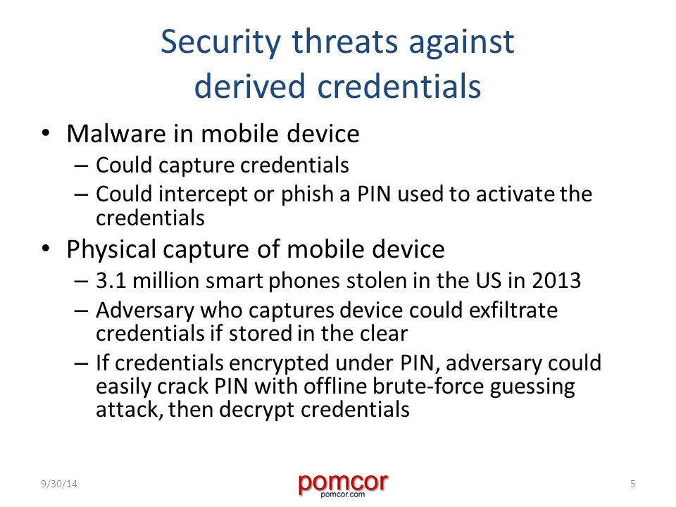 Security threats against derived credentials Malware in mobile device – Could capture credentials – Could intercept or phish a PIN used to activate the credentials Physical capture of mobile device – 3.1 million smart phones stolen in the US in 2013 – Adversary who captures device could exfiltrate credentials if stored in the clear – If credentials encrypted under PIN, adversary could easily crack PIN with offline brute-force guessing attack, then decrypt credentials 9/30/145