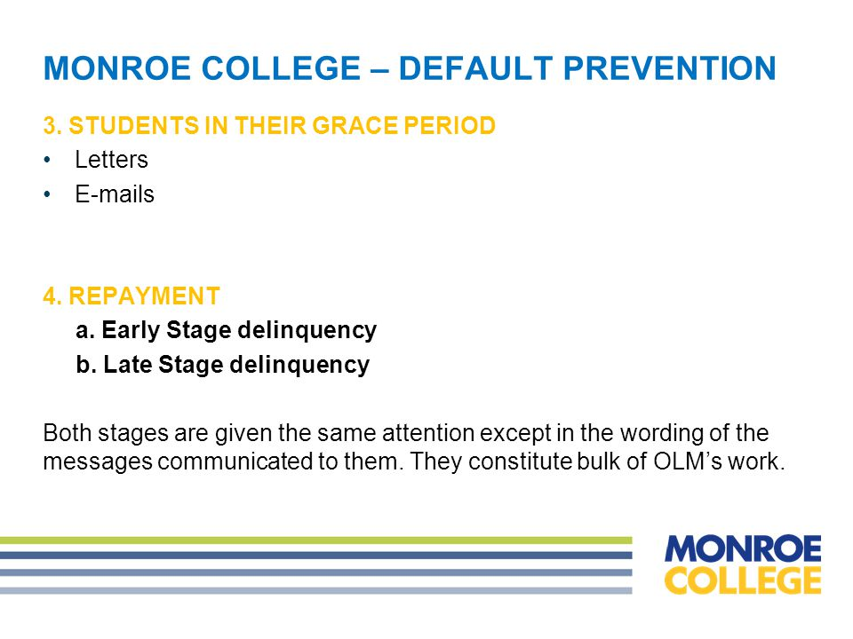 MONROE COLLEGE – DEFAULT PREVENTION 2.ENROLLED STUDENTS Entrance counseling.