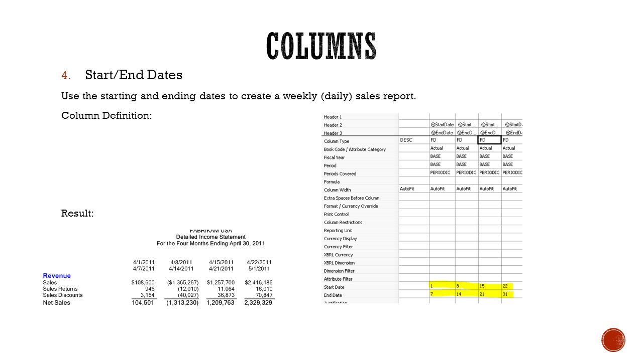 4. Start/End Dates Use the starting and ending dates to create a weekly (daily) sales report.