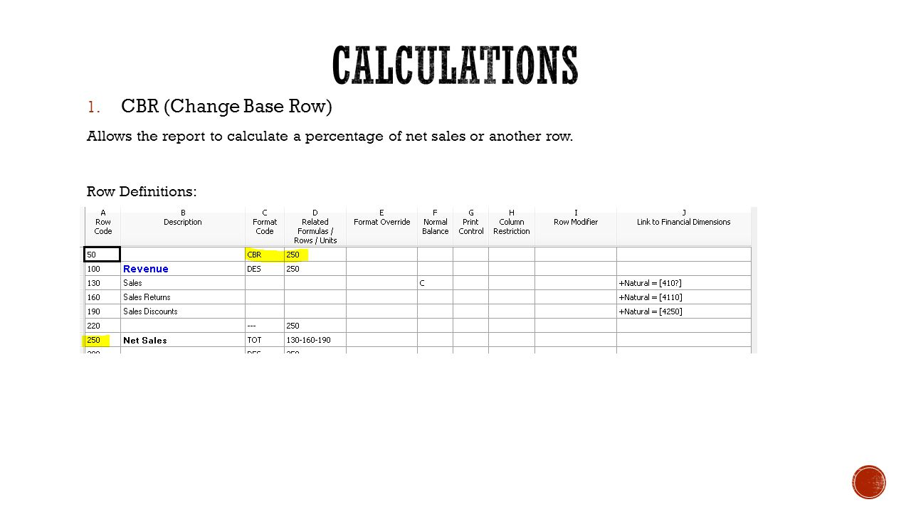 Multiple CBR calculations: Column Definition: