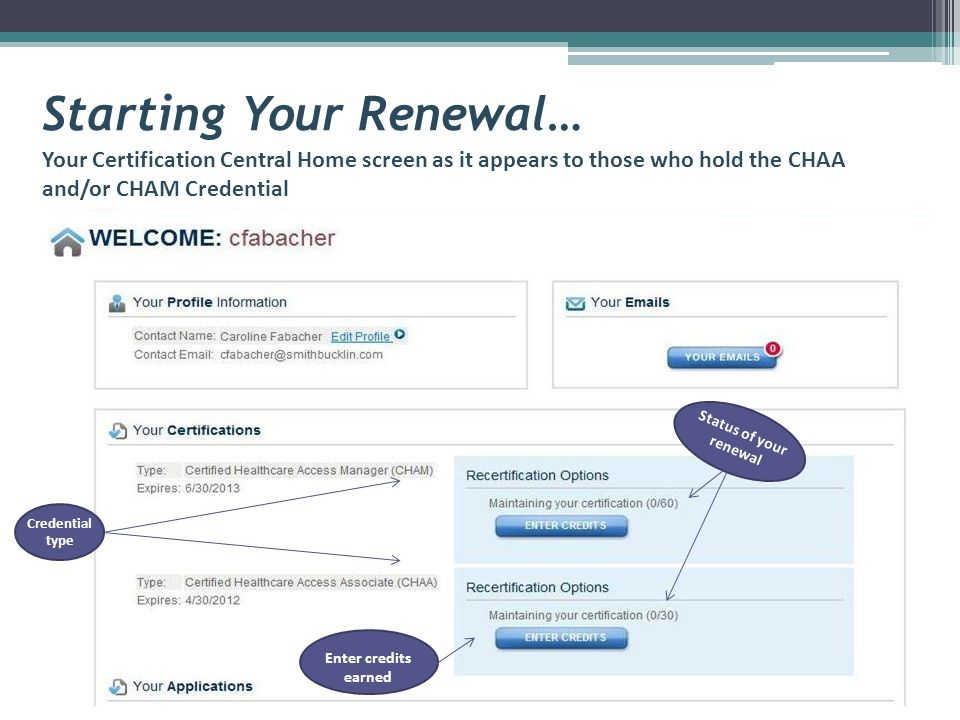 Starting Your Renewal… Your Certification Central Home screen as it appears to those who hold the CHAA and/or CHAM Credential Status of your renewal Credential type Enter credits earned