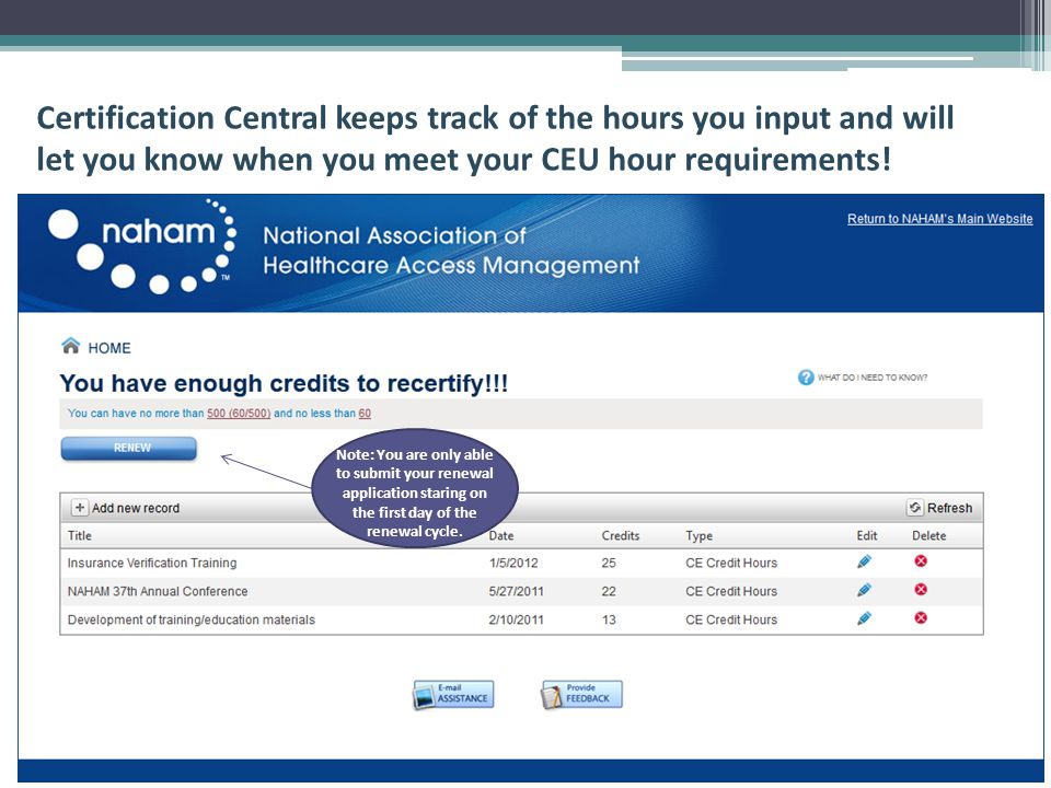 Certification Central keeps track of the hours you input and will let you know when you meet your CEU hour requirements.