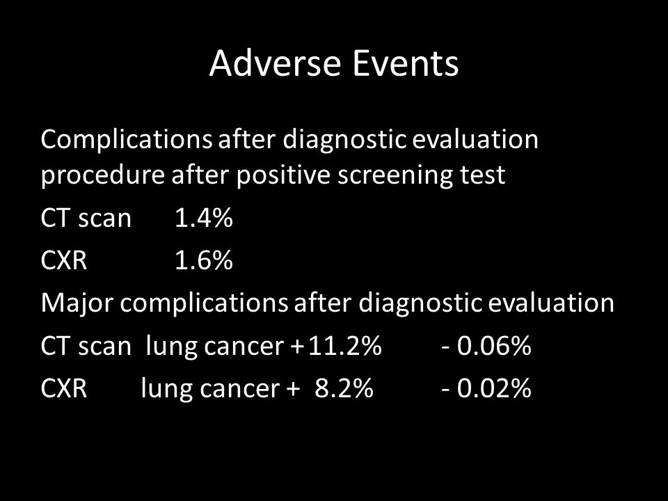Adverse Events Complications after diagnostic evaluation procedure after positive screening test CT scan 1.4% CXR1.6% Major complications after diagnostic evaluation CT scan lung cancer +11.2% - 0.06% CXR lung cancer + 8.2%- 0.02%