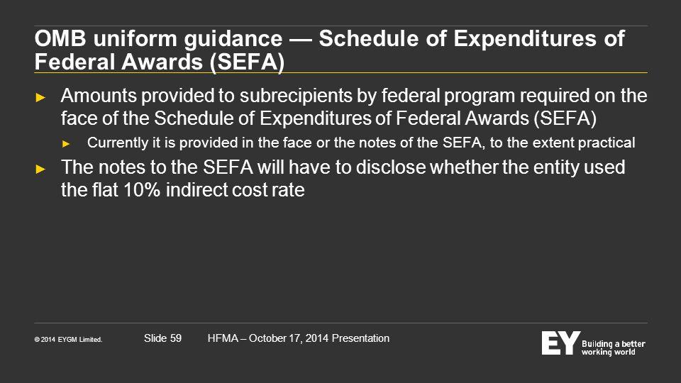 © 2014 EYGM Limited. HFMA – October 17, 2014 PresentationSlide 59 OMB uniform guidance — Schedule of Expenditures of Federal Awards (SEFA) ► Amounts p