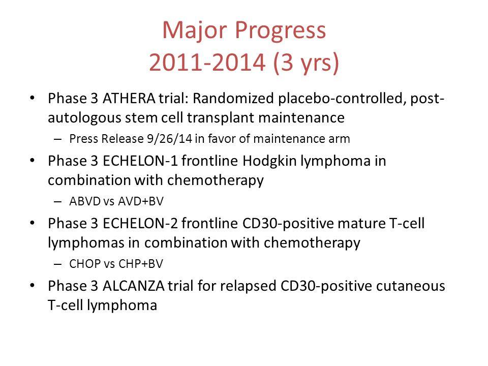 Major Progress 2011-2014 (3 yrs) Phase 3 ATHERA trial: Randomized placebo-controlled, post- autologous stem cell transplant maintenance – Press Releas
