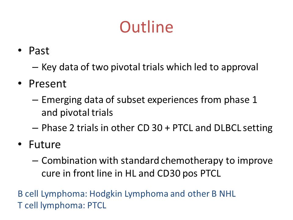 Outline Past – Key data of two pivotal trials which led to approval Present – Emerging data of subset experiences from phase 1 and pivotal trials – Ph