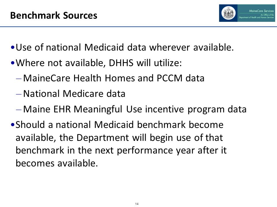 14 Benchmark Sources Use of national Medicaid data wherever available. Where not available, DHHS will utilize: – MaineCare Health Homes and PCCM data