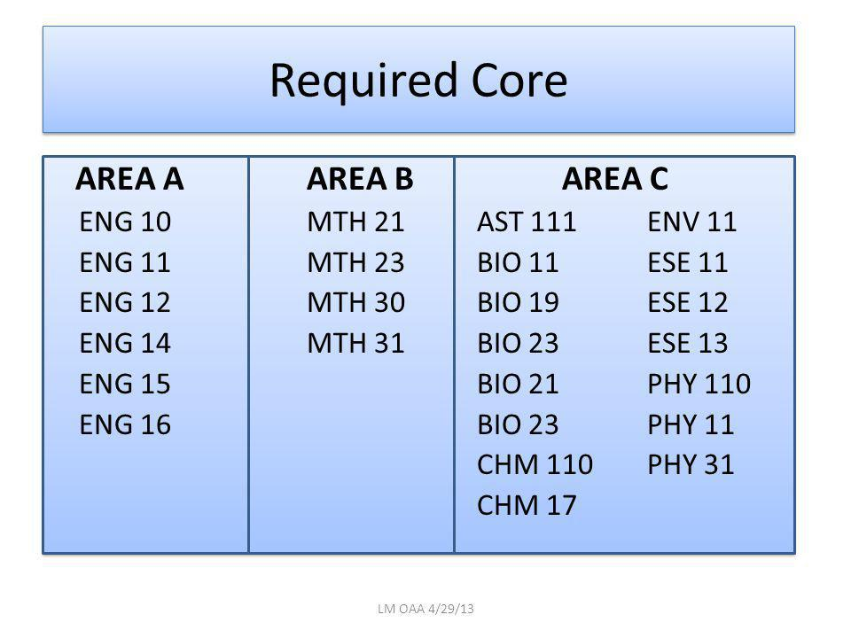 Required Core AREA AAREA BAREA C ENG 10MTH 21AST 111ENV 11 ENG 11MTH 23BIO 11ESE 11 ENG 12MTH 30BIO 19ESE 12 ENG 14MTH 31BIO 23ESE 13 ENG 15 BIO 21PHY