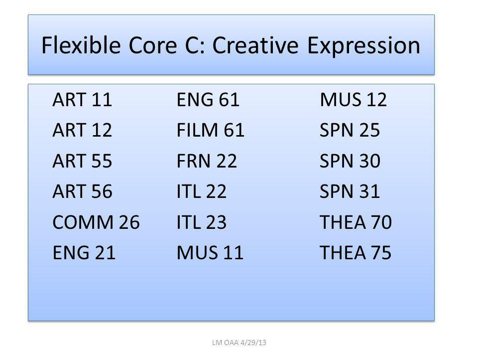 Flexible Core C: Creative Expression ART 11ENG 61MUS 12 ART 12FILM 61SPN 25 ART 55FRN 22SPN 30 ART 56ITL 22SPN 31 COMM 26ITL 23THEA 70 ENG 21MUS 11THEA 75 ART 11ENG 61MUS 12 ART 12FILM 61SPN 25 ART 55FRN 22SPN 30 ART 56ITL 22SPN 31 COMM 26ITL 23THEA 70 ENG 21MUS 11THEA 75 LM OAA 4/29/13
