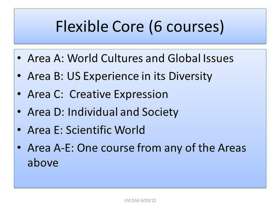 Flexible Core (6 courses) Area A: World Cultures and Global Issues Area B: US Experience in its Diversity Area C: Creative Expression Area D: Individual and Society Area E: Scientific World Area A-E: One course from any of the Areas above Area A: World Cultures and Global Issues Area B: US Experience in its Diversity Area C: Creative Expression Area D: Individual and Society Area E: Scientific World Area A-E: One course from any of the Areas above LM OAA 4/29/13