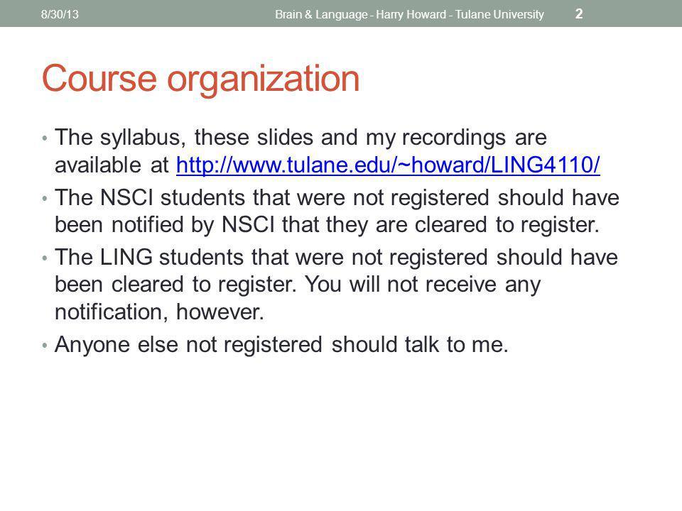 PUBLIC SERVICE OPTION Office of Public Service 8/30/13Brain & Language - Harry Howard - Tulane University 3