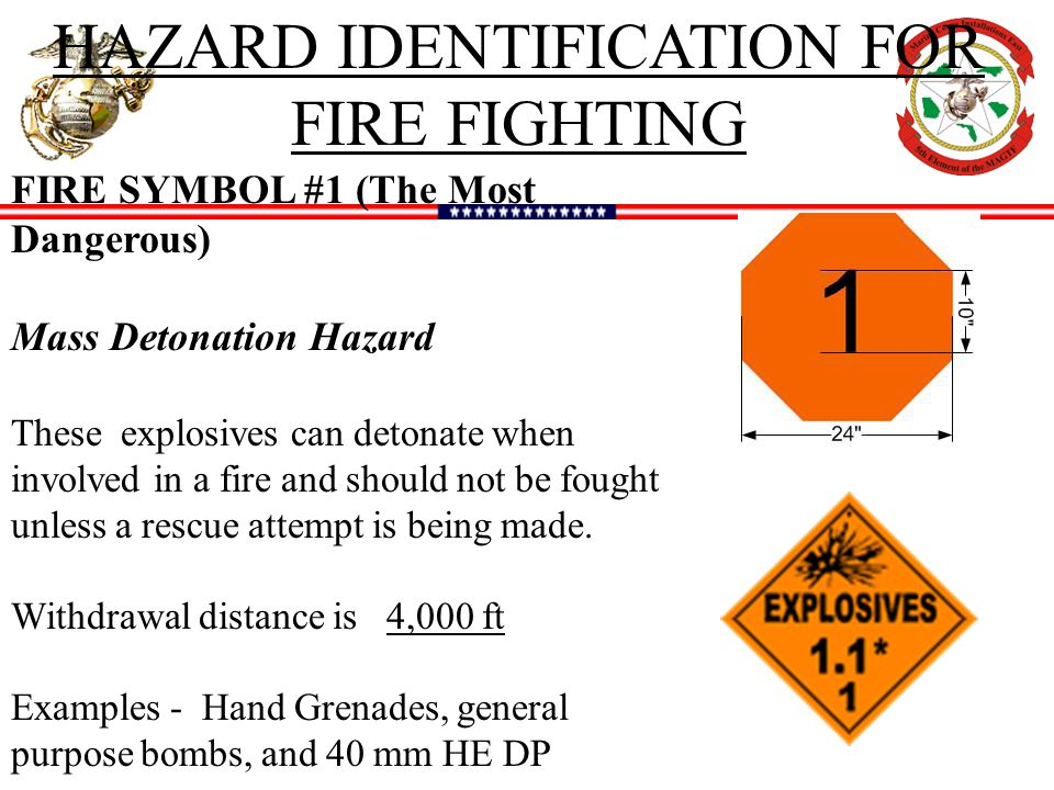 HAZARD IDENTIFICATION FOR FIRE FIGHTING FIRE SYMBOL #1 (The Most Dangerous) Mass Detonation Hazard These explosives can detonate when involved in a fire and should not be fought unless a rescue attempt is being made.