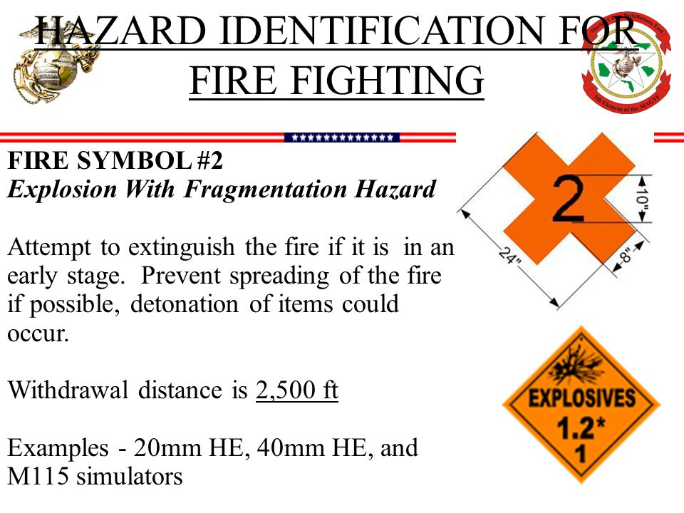 HAZARD IDENTIFICATION FOR FIRE FIGHTING FIRE SYMBOL #2 Explosion With Fragmentation Hazard Attempt to extinguish the fire if it is in an early stage.