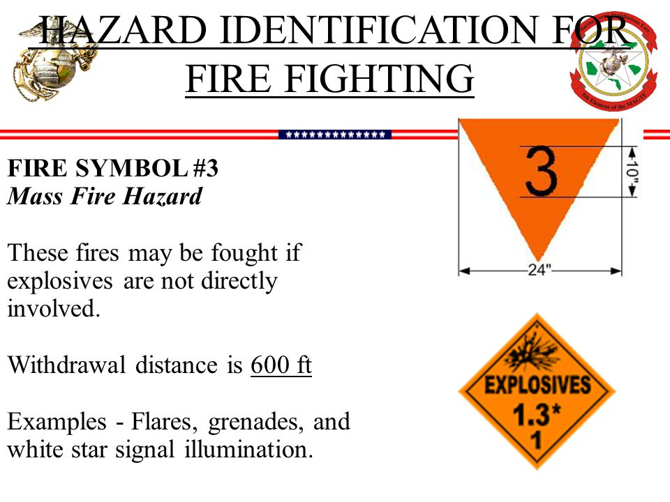 HAZARD IDENTIFICATION FOR FIRE FIGHTING FIRE SYMBOL #3 Mass Fire Hazard These fires may be fought if explosives are not directly involved.
