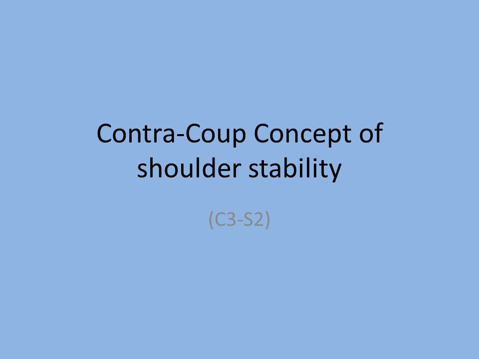 Contra-Coup Concept of shoulder stability (C3-S2)