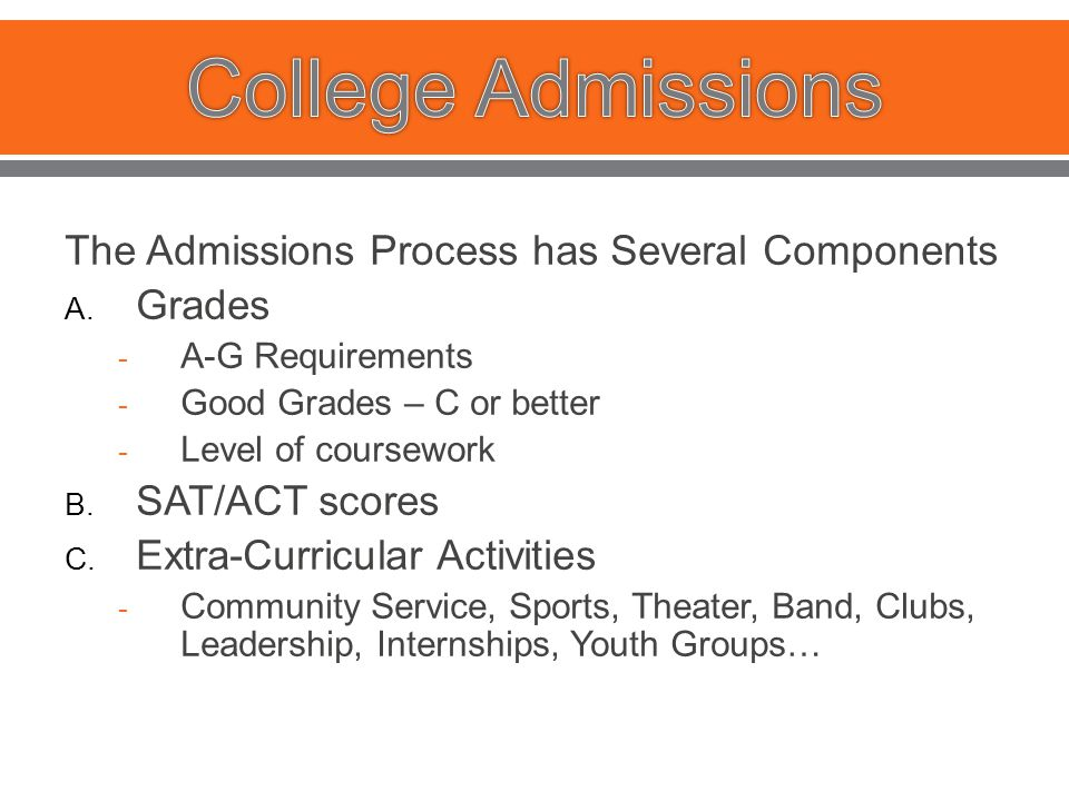 The Admissions Process has Several Components A.
