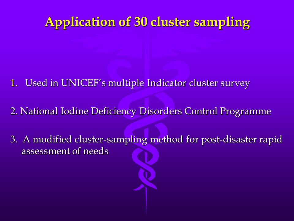 Application of 30 cluster sampling 1.Used in UNICEF's multiple Indicator cluster survey 2. National Iodine Deficiency Disorders Control Programme 3. A