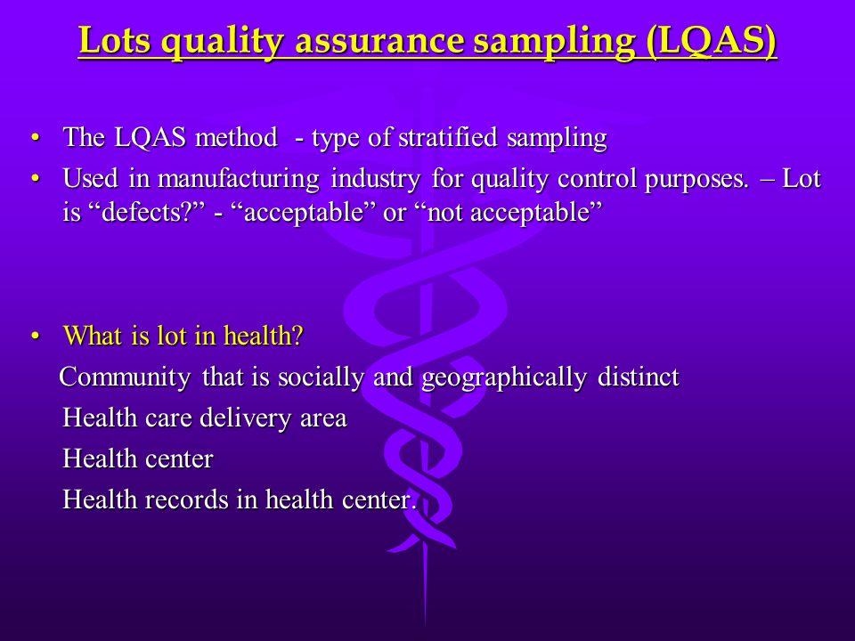 Lots quality assurance sampling (LQAS) The LQAS method - type of stratified samplingThe LQAS method - type of stratified sampling Used in manufacturin