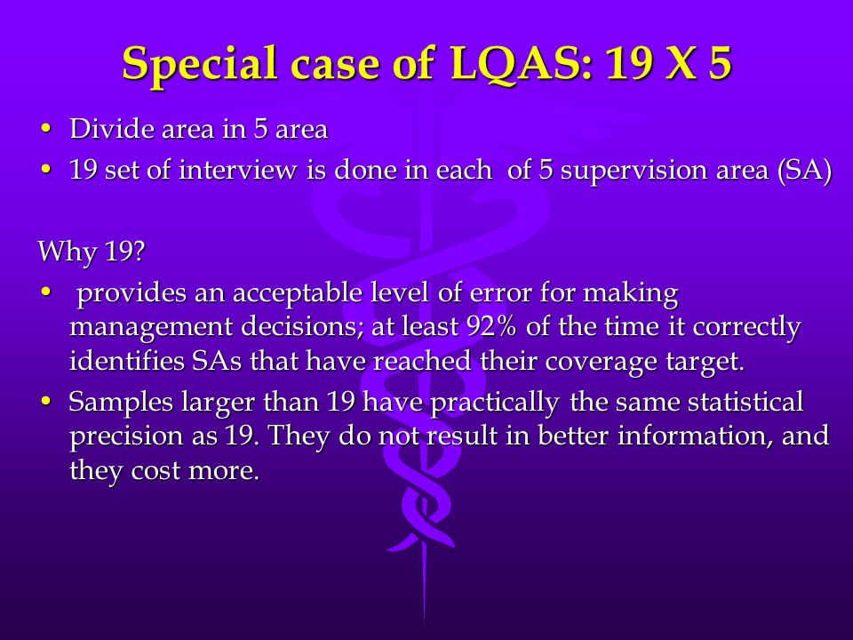Special case of LQAS: 19 X 5 Divide area in 5 areaDivide area in 5 area 19 set of interview is done in each of 5 supervision area (SA)19 set of interv