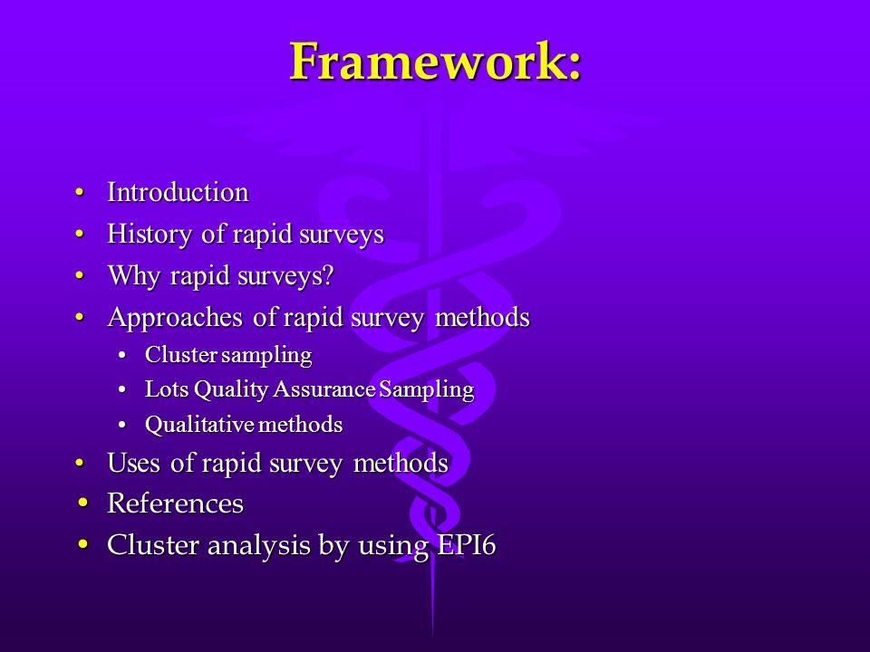 Framework: IntroductionIntroduction History of rapid surveysHistory of rapid surveys Why rapid surveys?Why rapid surveys? Approaches of rapid survey m