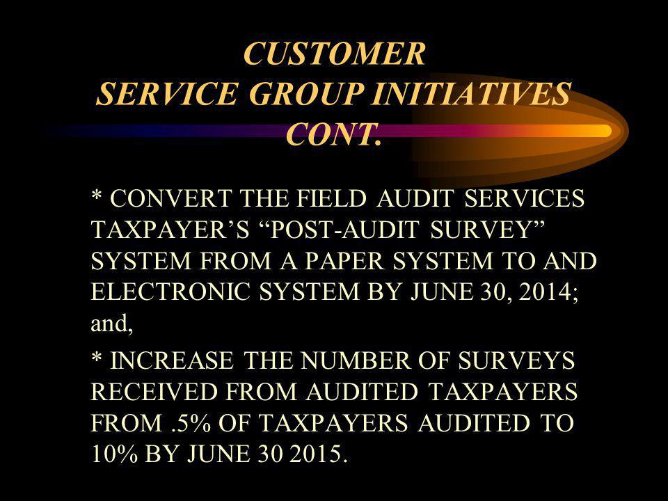 CUSTOMER SERVICE GROUP INITIATIVES CONT.