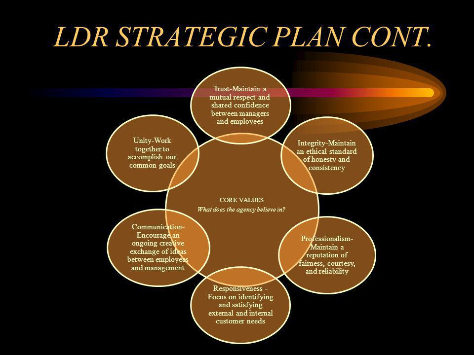 LDR STRATEGIC PLAN CONT. CORE VALUES What does the agency believe in.