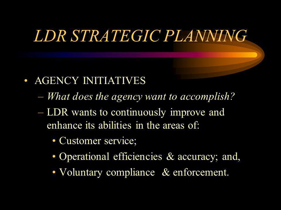 LDR STRATEGIC PLANNING AGENCY INITIATIVES –What does the agency want to accomplish.
