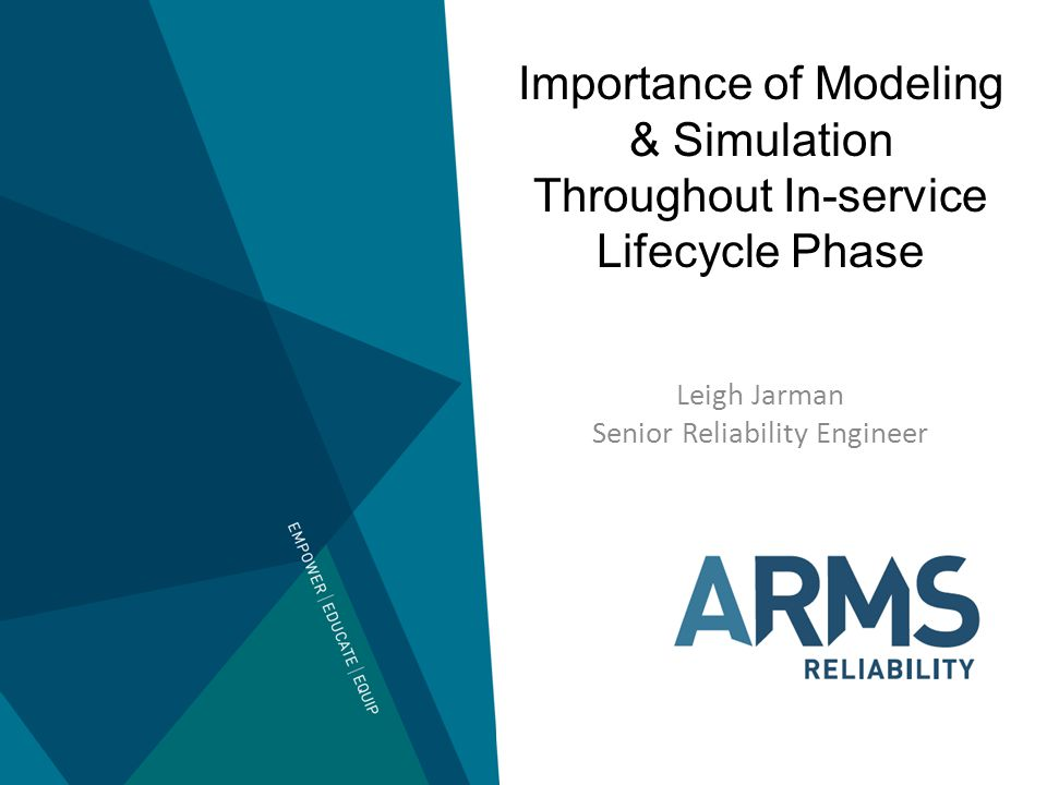 Importance of Modeling & Simulation Throughout In-service Lifecycle Phase Leigh Jarman Senior Reliability Engineer